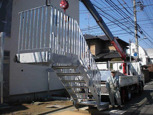 社宅の鉄骨階段工事