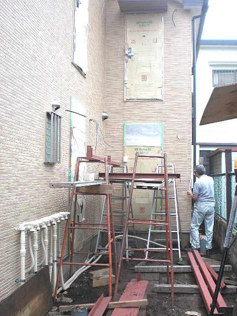 鉄骨工事の墨出し作業