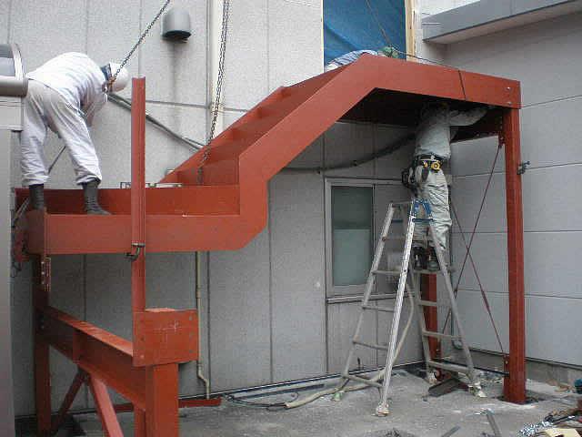 鉄骨階段工事の写真