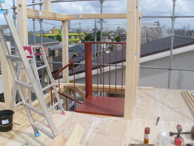 建て方時に施工された螺旋階段