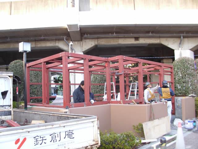マンション共用ゴミステーションの鉄骨増設工事