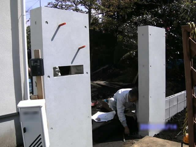 コンクリート打ち放し門柱